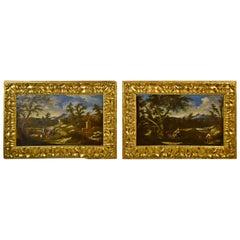18th Century Pair of Italian Scenes of Country Life, Antonio Francesco Peruzzini