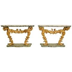 18th Century Pair of Italian Baroque Lacquered and Giltwood Console Marble Top