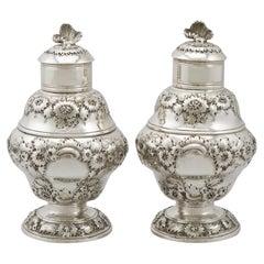 18th Century 1750 Georgian Sterling Silver Set of Two Tea Caddies