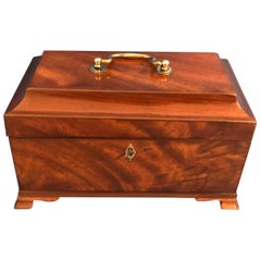 18th Century 1770 Chippendale  ebony edged 3 lidded mahogany tea caddy