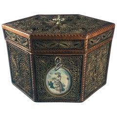 18th Century 1785 Rolled Paper Inlaid Tea Caddy