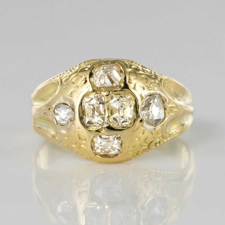 18th Century 18 Karat Yellow Gold 0.40 Carat Diamond Ring For Sale 5