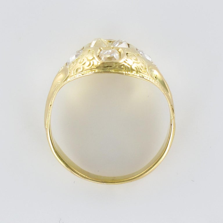 18th Century 18 Karat Yellow Gold 0.40 Carat Diamond Ring For Sale 6