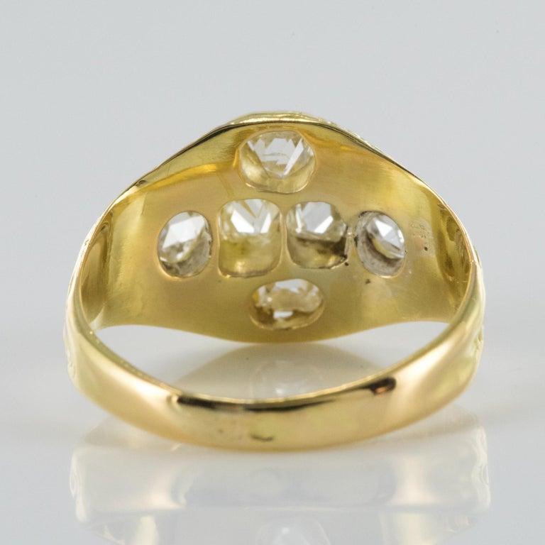 18th Century 18 Karat Yellow Gold 0.40 Carat Diamond Ring For Sale 7
