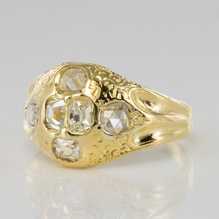 Empire 18th Century 18 Karat Yellow Gold 0.40 Carat Diamond Ring For Sale