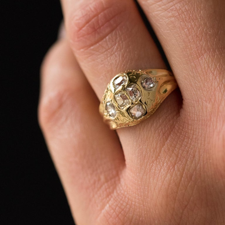 18th Century 18 Karat Yellow Gold 0.40 Carat Diamond Ring In Fair Condition For Sale In Poitiers, FR