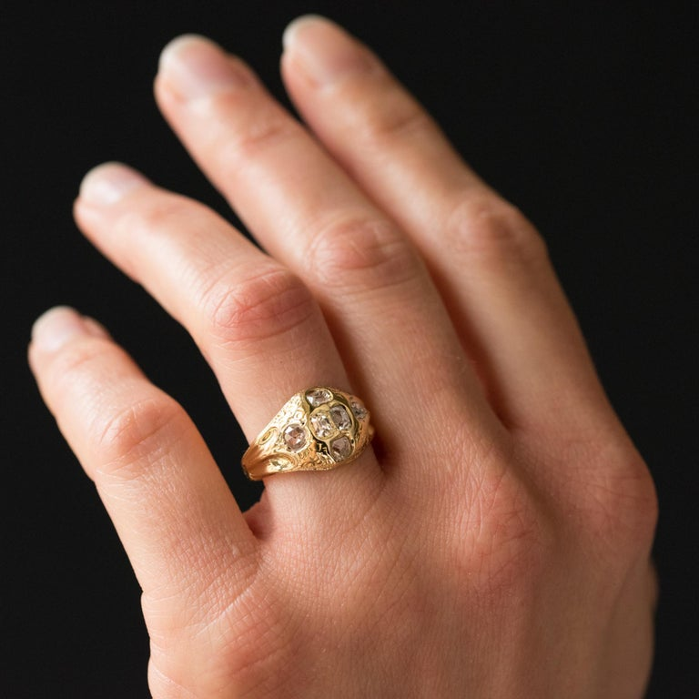 Women's 18th Century 18 Karat Yellow Gold 0.40 Carat Diamond Ring For Sale
