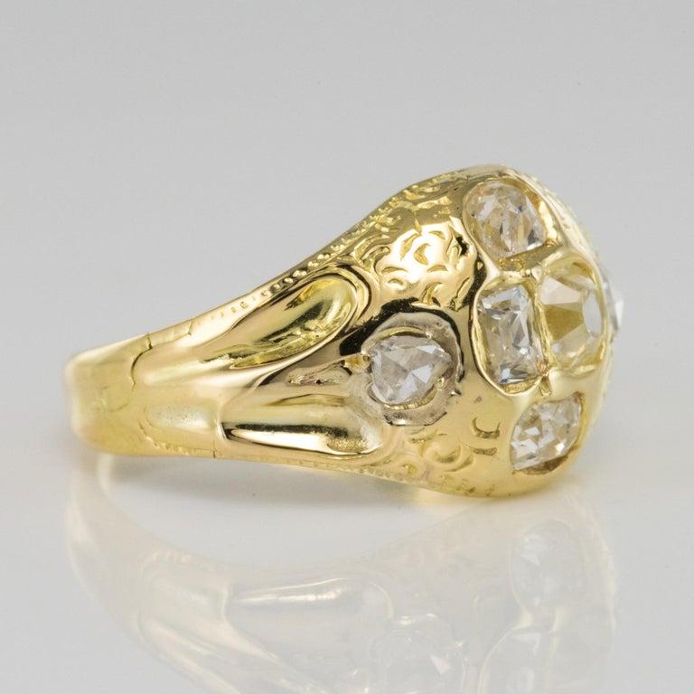 18th Century 18 Karat Yellow Gold 0.40 Carat Diamond Ring For Sale 2