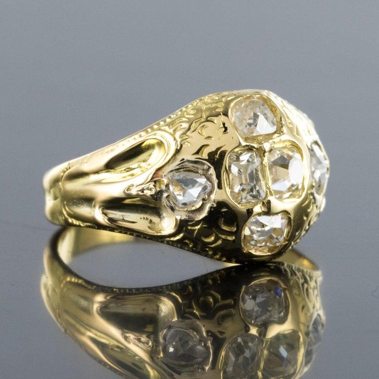 18th Century 18 Karat Yellow Gold 0.40 Carat Diamond Ring For Sale 3