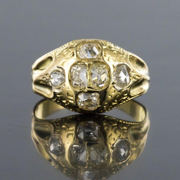18th Century 18 Karat Yellow Gold 0.40 Carat Diamond Ring For Sale 4