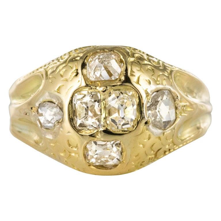 18th Century 18 Karat Yellow Gold 0.40 Carat Diamond Ring For Sale