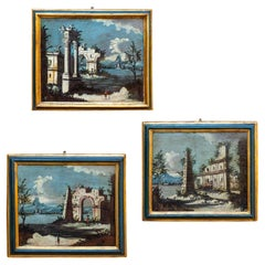 18th Century 3 Landscapes Painted Oil on Canvas Gaetano Vetturali Scool Lucca