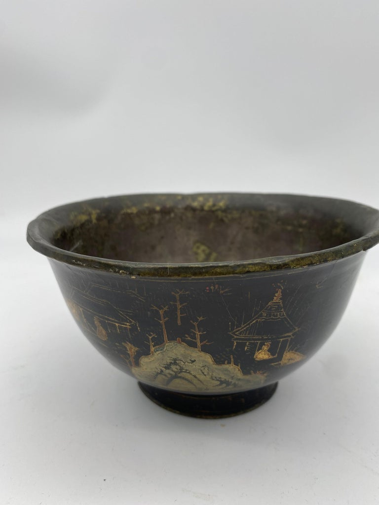 18th Century Chinese Lacquer Bowl with Pewter For Sale 4