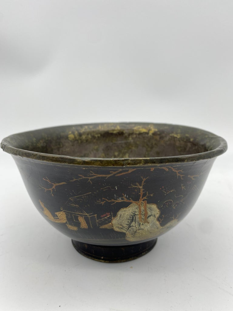 18th Century Chinese Lacquer Bowl with Pewter For Sale 5