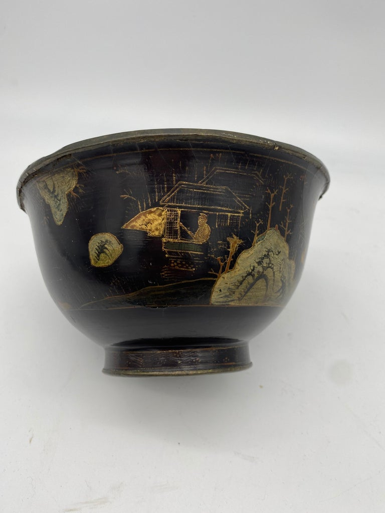 Lacquered 18th Century Chinese Lacquer Bowl with Pewter For Sale