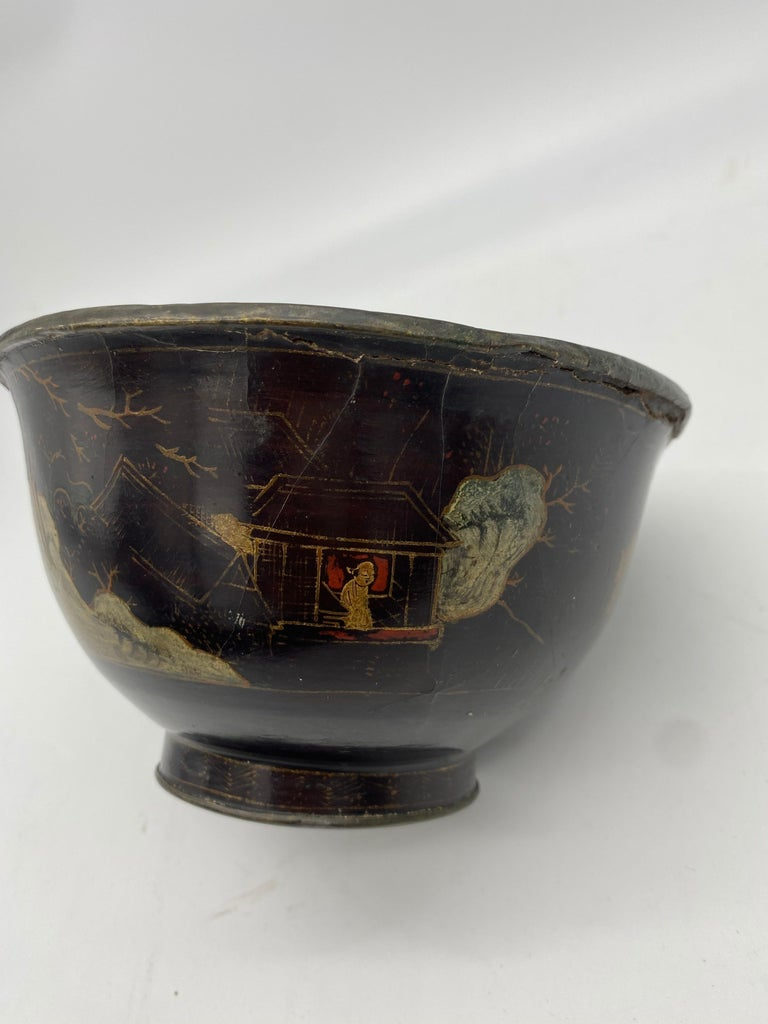 18th Century Chinese Lacquer Bowl with Pewter In Good Condition For Sale In Brea, CA