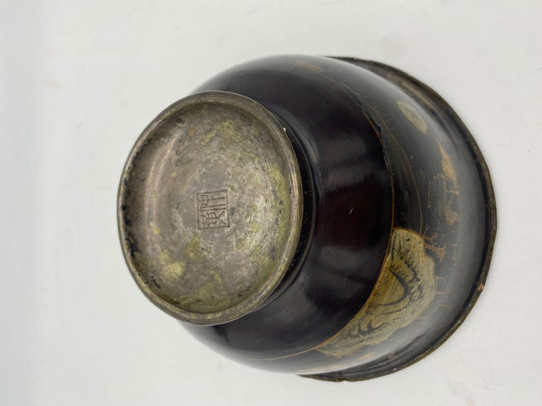18th Century Chinese Lacquer Bowl with Pewter For Sale 1