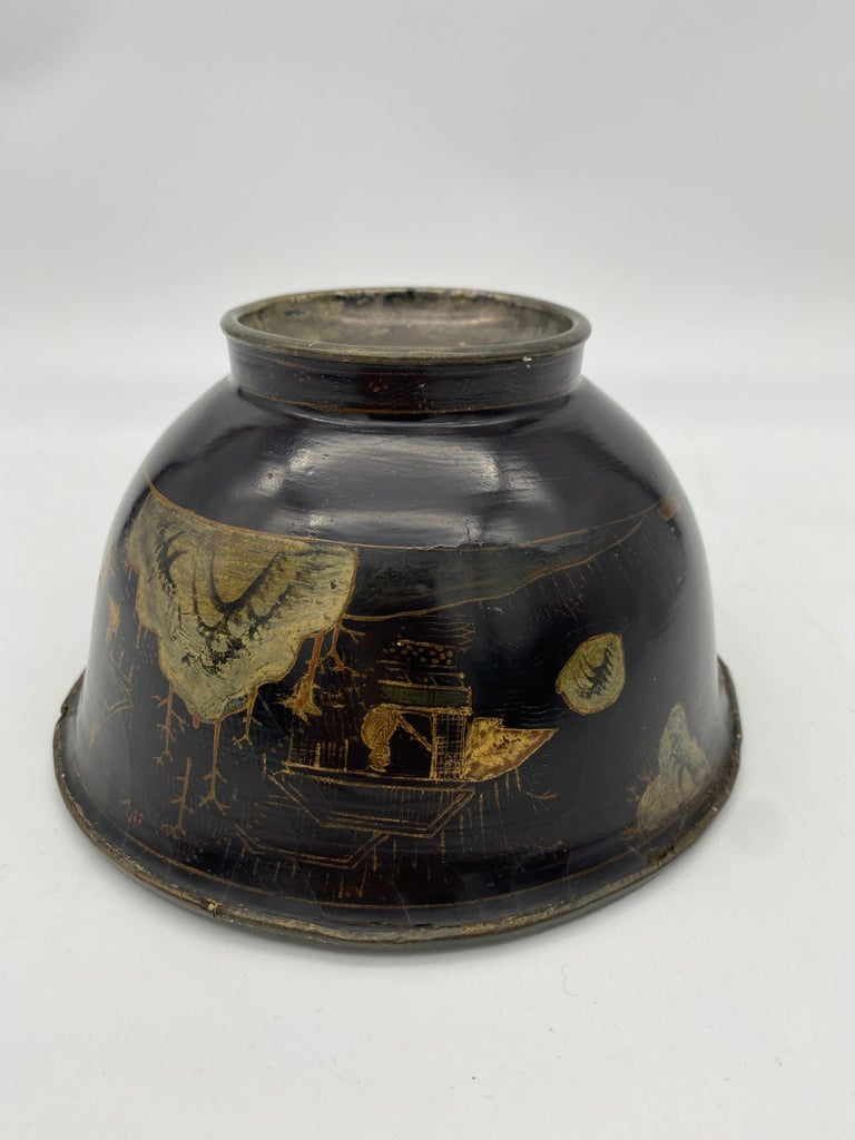 18th Century Chinese Lacquer Bowl with Pewter For Sale 2