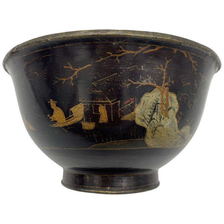 18th Century Chinese Lacquer Bowl with Pewter For Sale