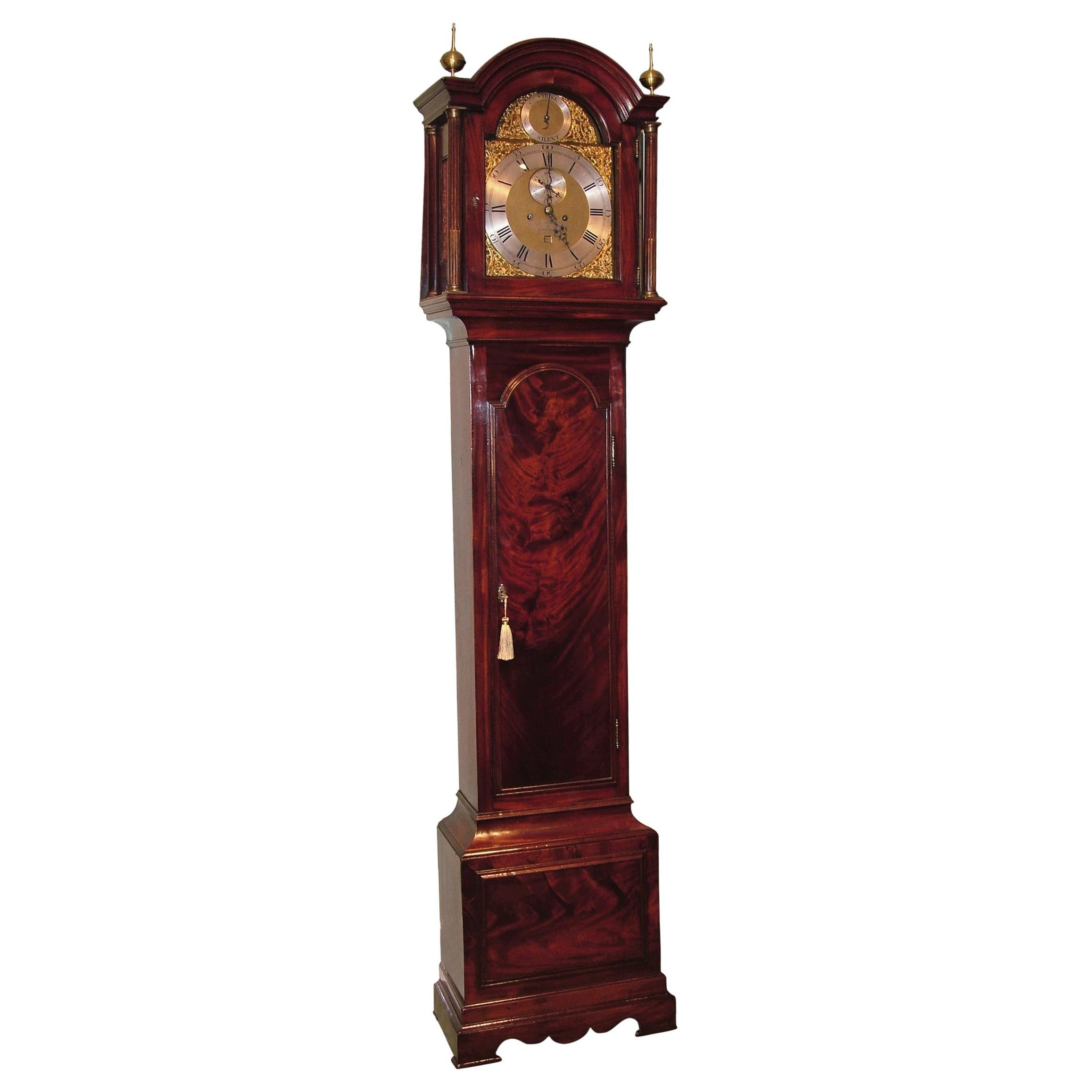 18th Century 8 Day Mahogany Long Case Clock, by B. Francis of Gravesend