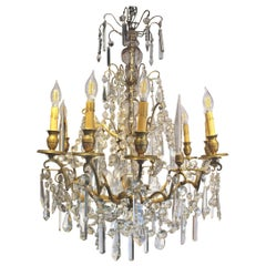 18th Century 9-Light French Gilt Bronze and Crystal Chandelier