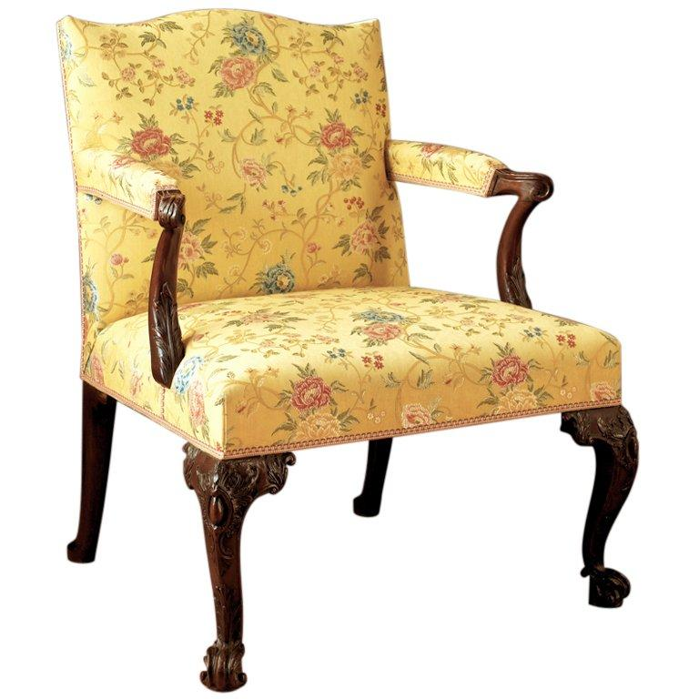 George II period carved mahogany open arm chair attributed to Matthias Lock For Sale