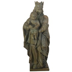 18th Century a Large Carved Wood Sculpture Madonna and Child