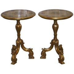 18th Century Acanthus Vintage Giltwood Painted Side End Lamp Round Tables, Pair