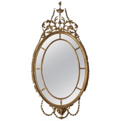 18th Century Adam Oval Patera Gilt Mirror