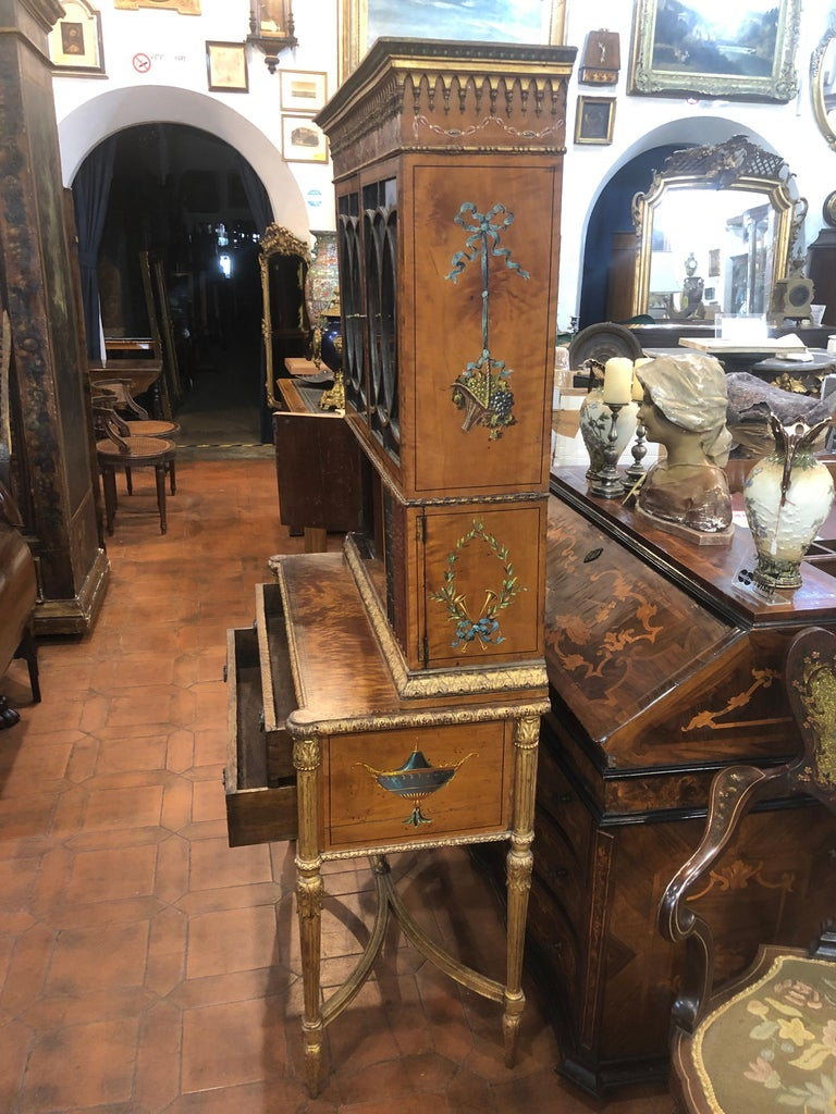 18th Century Adam Satinwood Cabinet Painted Wood Gilt For Sale 4