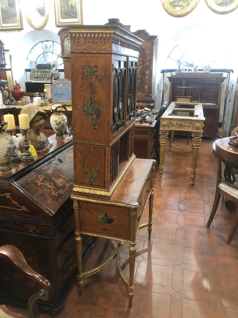 18th Century Adam Satinwood Cabinet Painted Wood Gilt For Sale 5