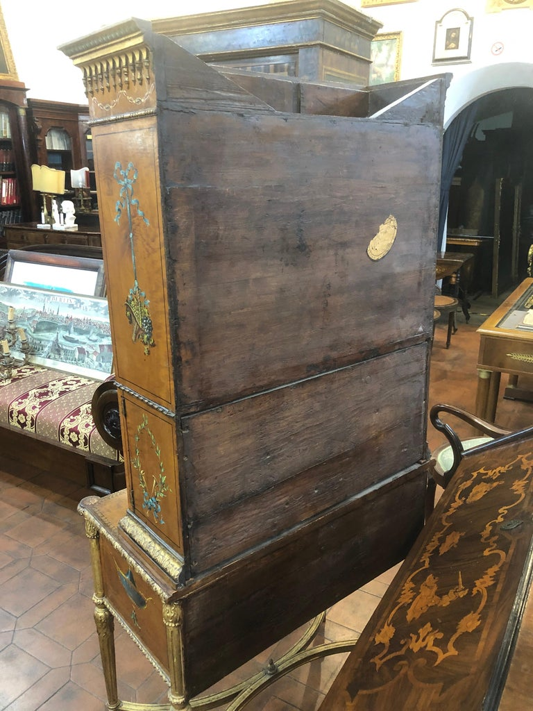 18th Century Adam Satinwood Cabinet Painted Wood Gilt For Sale 7