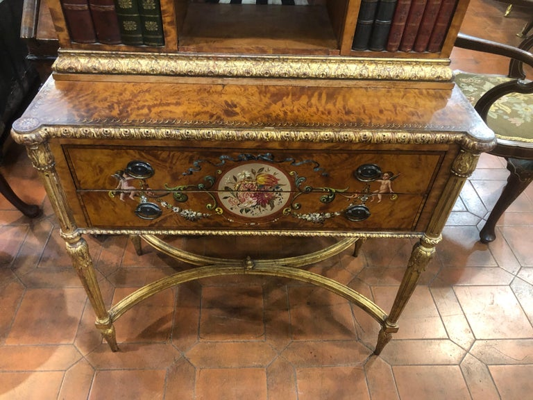 English 18th Century Adam Satinwood Cabinet Painted Wood Gilt For Sale