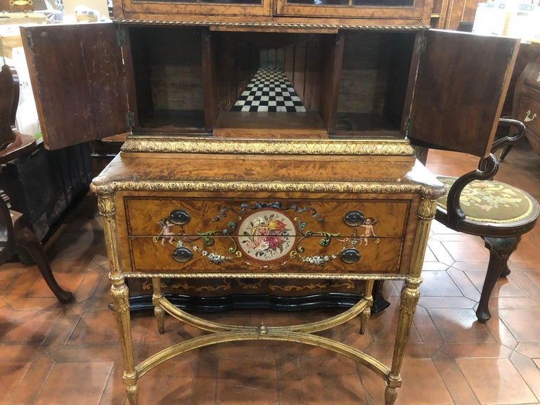 18th Century Adam Satinwood Cabinet Painted Wood Gilt For Sale 2