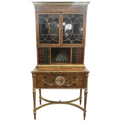 18th Century Adam Satinwood Cabinet Painted Wood Gilt