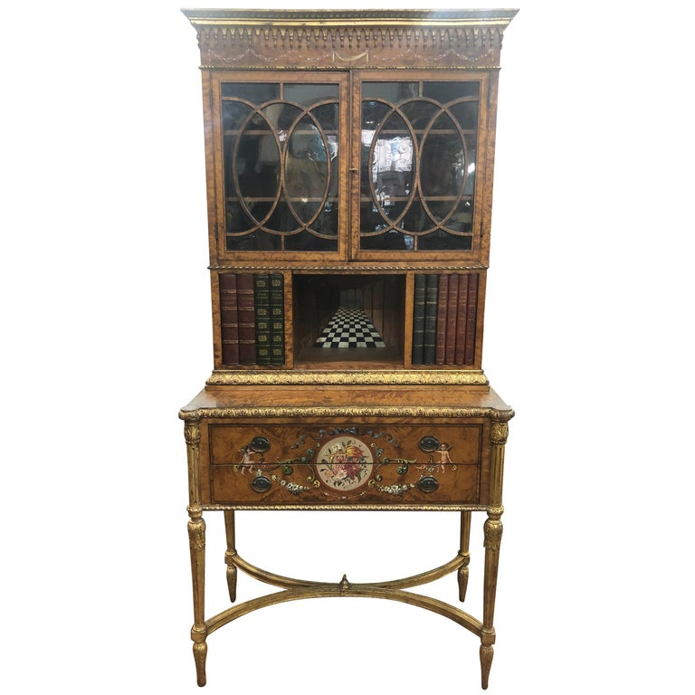 18th Century Adam Satinwood Cabinet Painted Wood Gilt For Sale