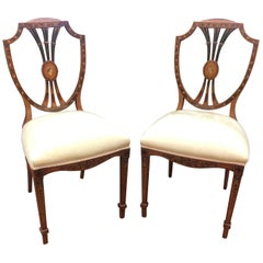 18th Century Adam Style England Satinwood Painting Pair of Chairs, 1770s