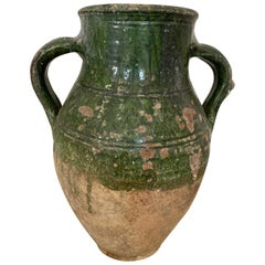 18th Century Aegean Sea Earthenware Jar with Green Glazing