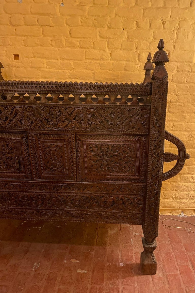 superb Afghan wedding chest from Nuristan from the 18th century  Very elegant chest from Afghanistan finely carved with flowers and foliage very decorative and unusual piece  Superb patina and in very good condition  length 1m21 - length with
