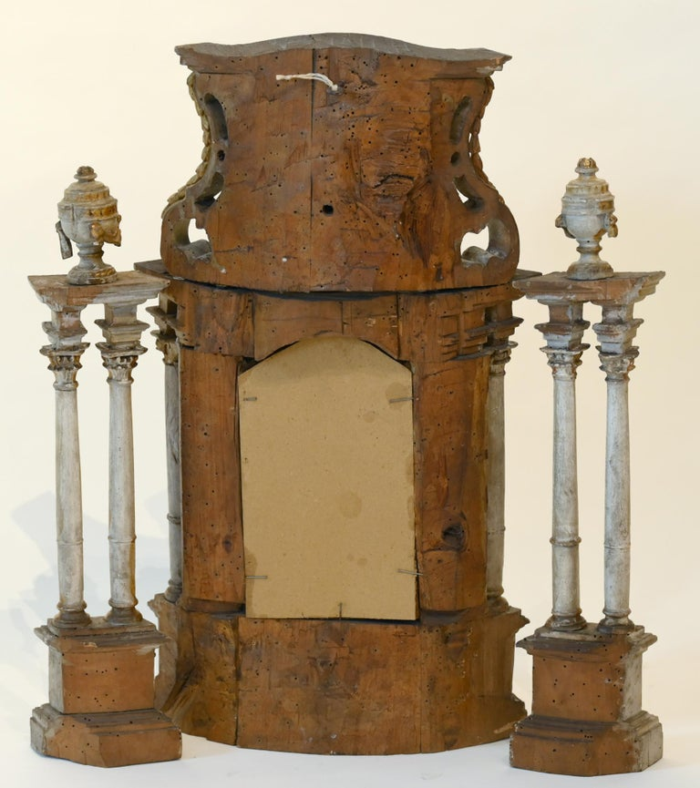 Carved 18th Century Altar Modell, South Germany, with Original Painting, Wood For Sale