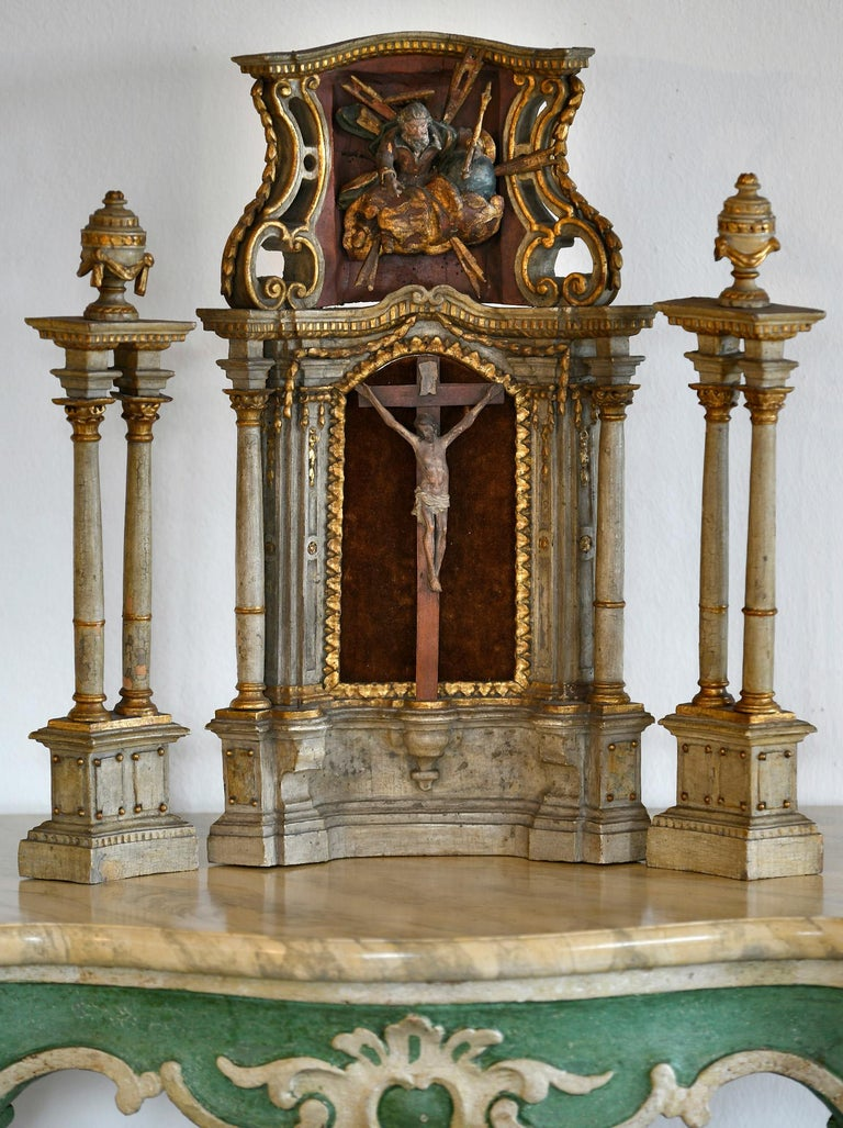 18th Century Altar Modell, South Germany, with Original Painting, Wood In Good Condition For Sale In Epfach, DE