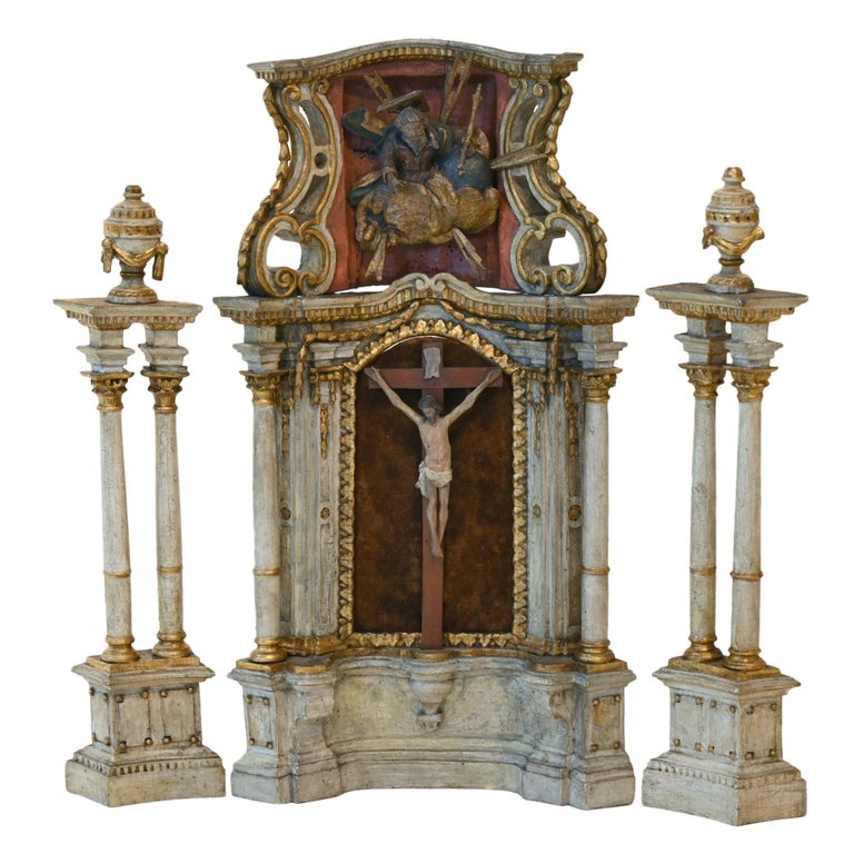 18th Century Altar Modell, South Germany, with Original Painting, Wood For Sale
