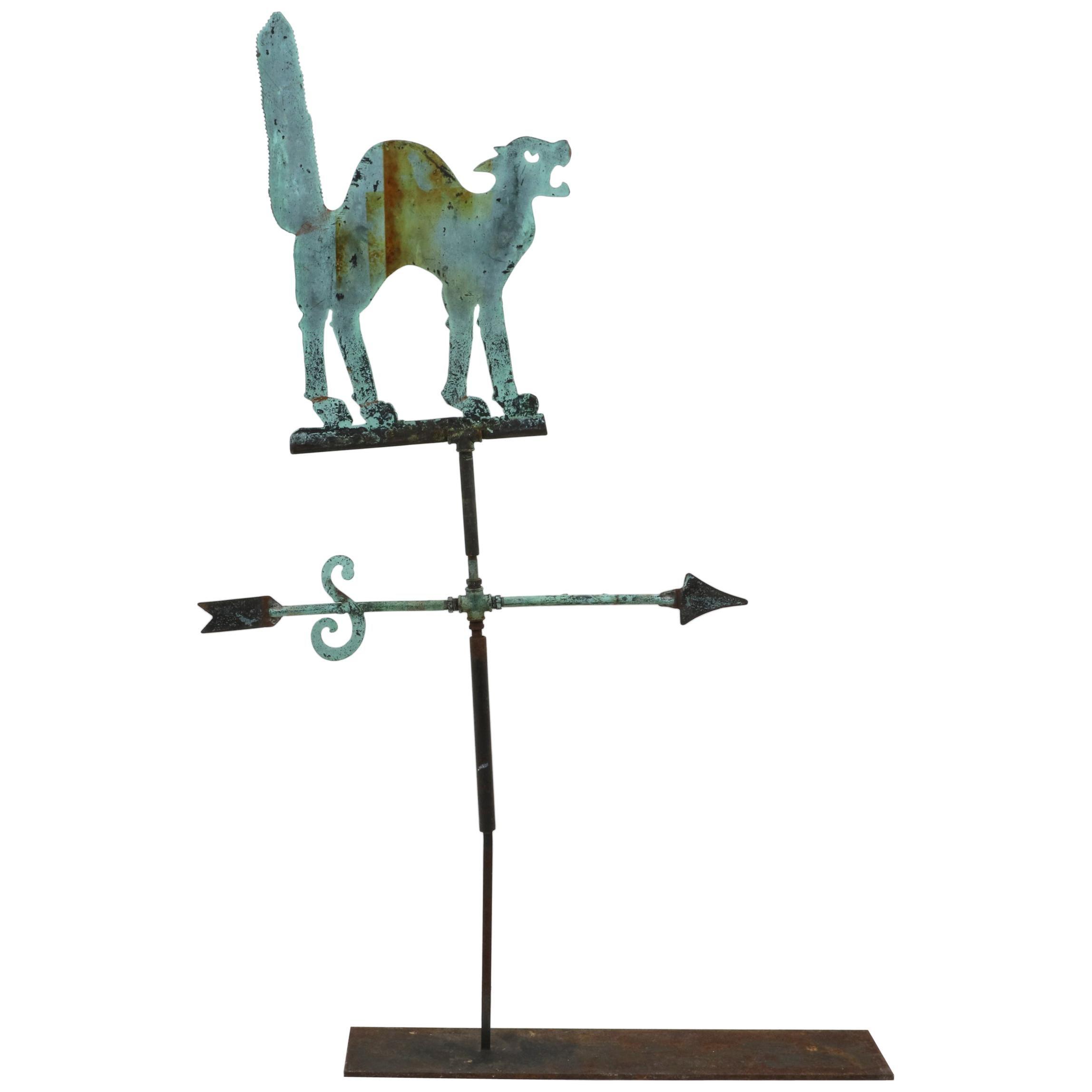 18th Century American Copper Weather Vane of Cat