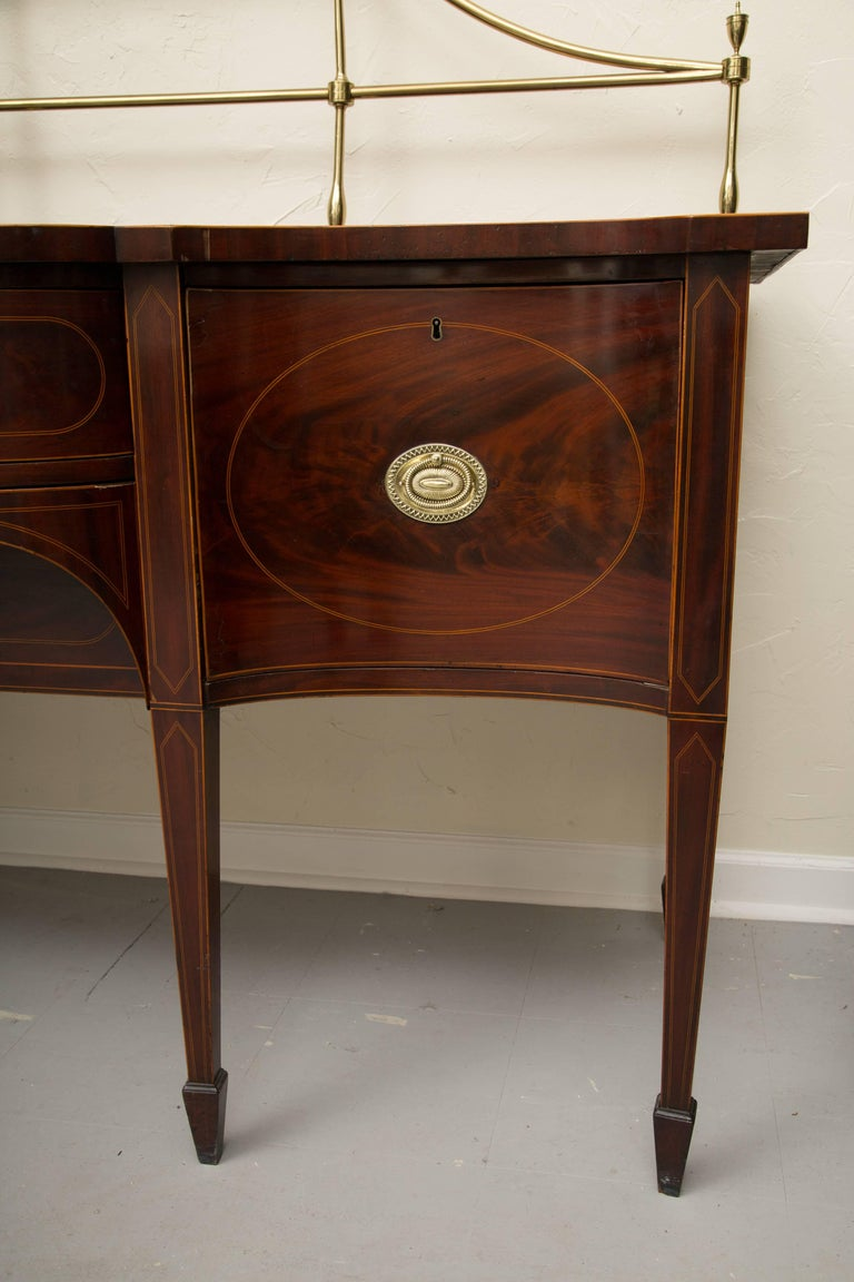 18th Century American Hepplewhite Mahogany Sideboard with Brass Gallery For Sale 7