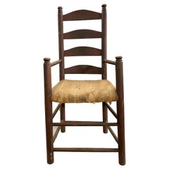 18th Century American Ladder Back Armchair in Old Crusty Red Paint