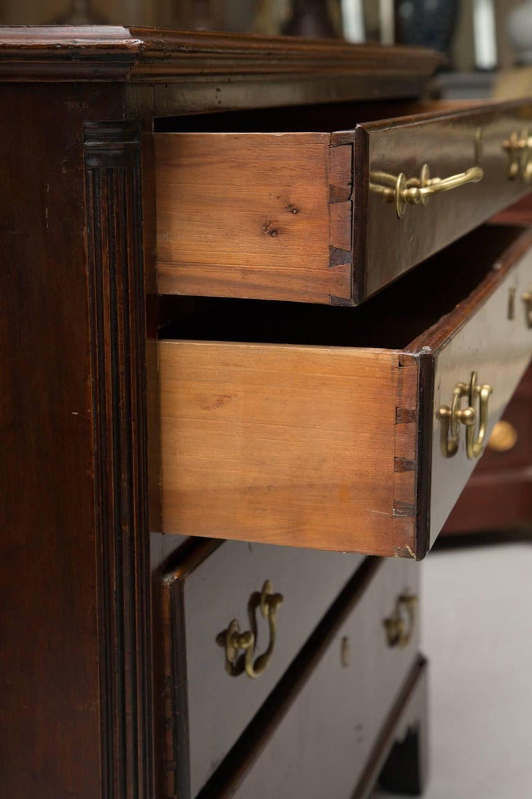 Late 18th Century 18th Century American Mahogany Straight Front Chest of Drawers For Sale