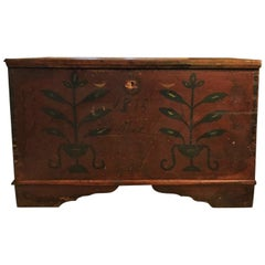 18th Century American Pine Decorated Blanket Chest