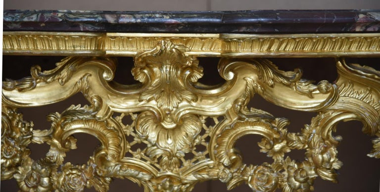18th Century Ancient Console Rococò Italian Giltwood Carved Wood, 1700s In Good Condition For Sale In Torino, Torino