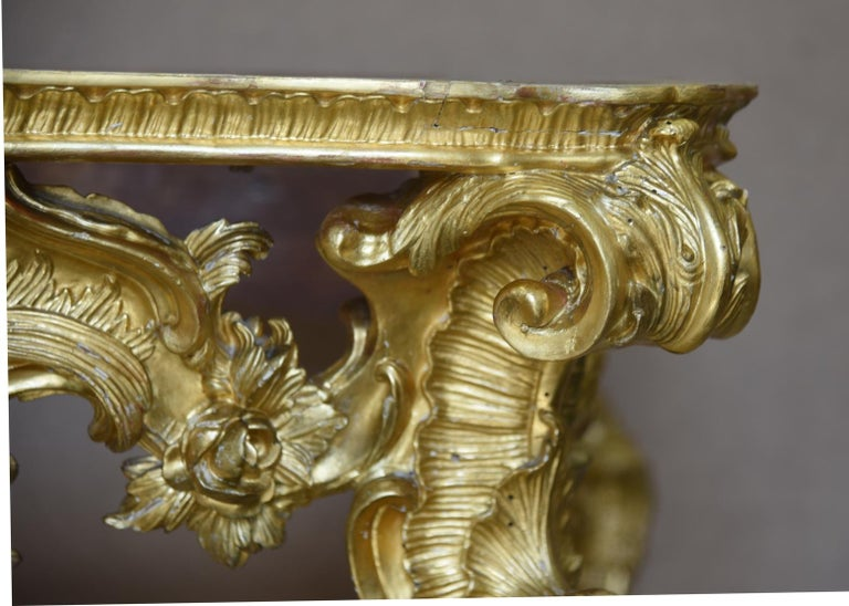 18th Century and Earlier 18th Century Ancient Console Rococò Italian Giltwood Carved Wood, 1700s For Sale