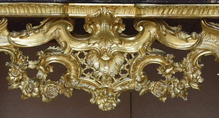 18th Century Ancient Console Rococò Italian Giltwood Carved Wood, 1700s For Sale 3
